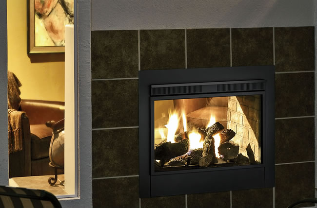 Majestic Twilight II indoor and outdoor gas fireplace is truly a one of a kind and can be installed into and exterior wall with no venting required.