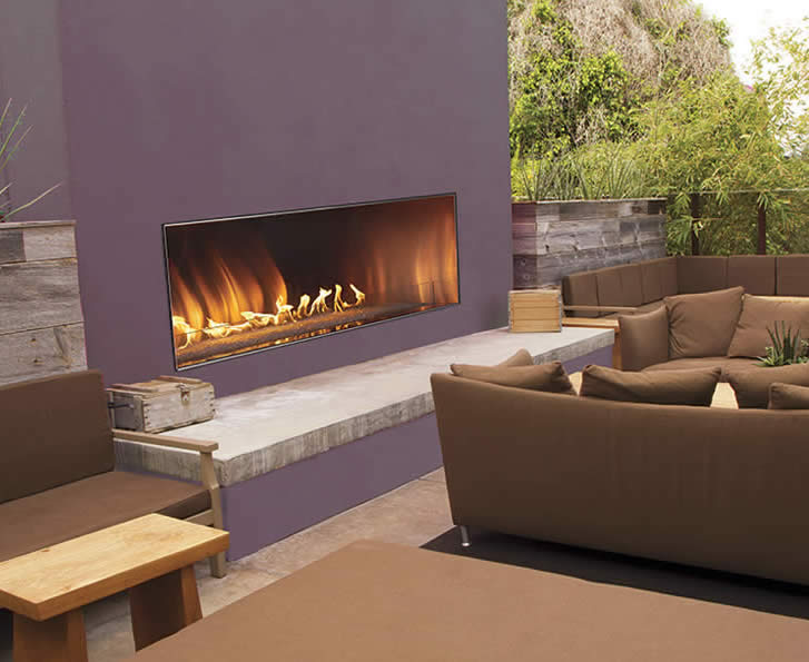 Empire 60 Inch Linear Outdoor Gas Fireplace Requires No Venting And Come With LED Lighting From The Carol Rose Coastal Collection