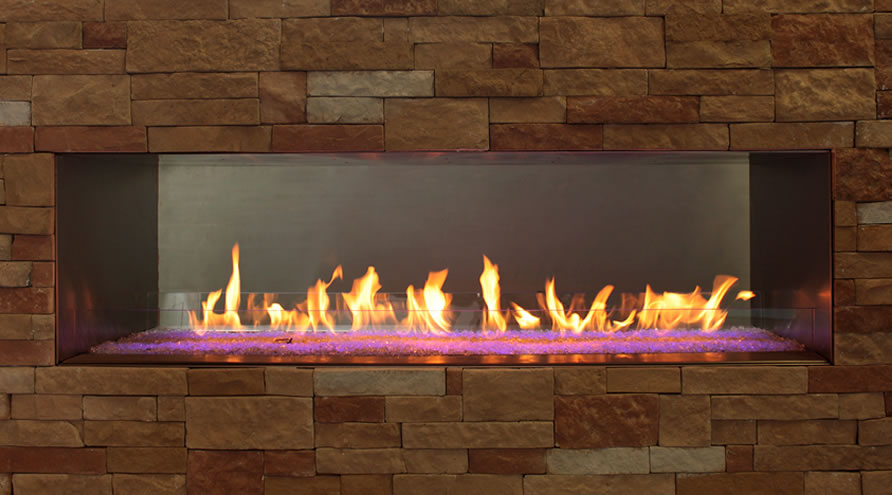 Empire 48 Inch Outdoor Linear Gas Fireplace With LED Lighting From The Carol Rose Coastal Collection