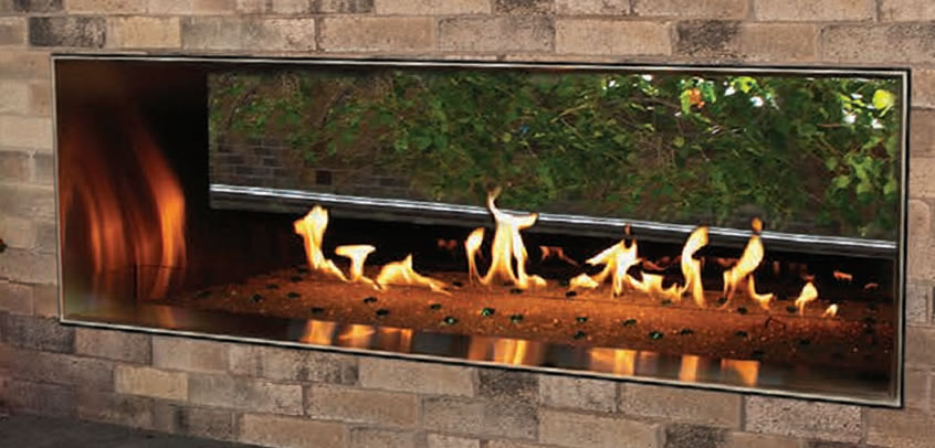 48 Inch Carol Rose Collection Outdoor Linear See-Through Gas Fireplace by White Mountain Hearth