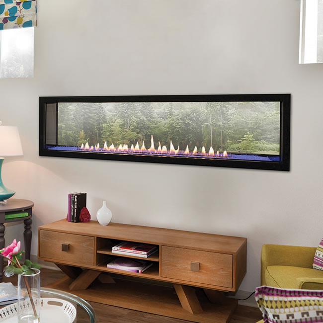 The Boulevard 60 linear vent-free fireplace can be used as a conventional see through fireplace on an interior wall or used as an indoor / outdoor see through fireplace on an exterior wall with the optional stainless steel frame kit for the outside wall.