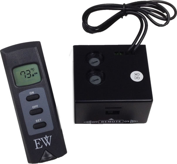 Thermostatically controlled remote for fireplaces and gas logs.