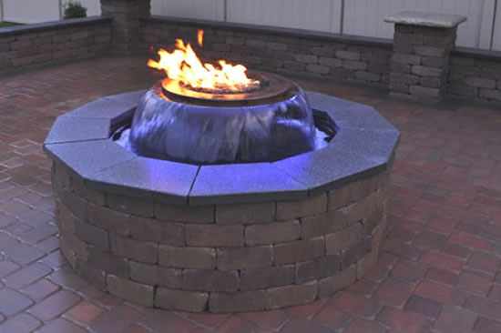 Evolution 360 gas fire pit with water feature fine 39 s gas for Fire pit water feature combo