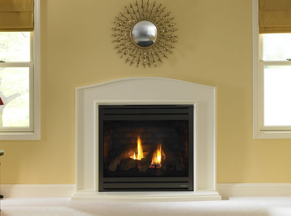 Heat-N-Glo SL-750 TRS direct vent gas fireplace offers a lot of heat for just pennies on the hour because if its ceramic glass.