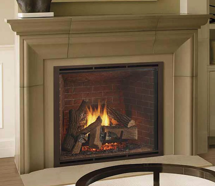The Heat-N-Glo TRUE-42 gas fireplace has the largest viewing area and looks as realistic as a wood burning fireplace.