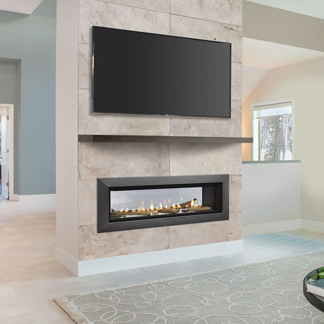 Wide view echelon ii see thru fireplace by majestic fine for See thru fireplaces