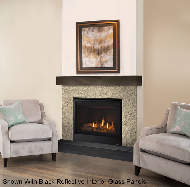 The Quartz 36 direct vent fireplace offers sleek modern styling with a versatile interior that can be changed from traditional to contemporary to fit your style