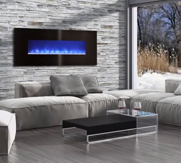 This Modern Flames electric liner fireplace spans 80 wide and can be mounted flush into the wall or hung like a portrait. Come standard with remote control operation.