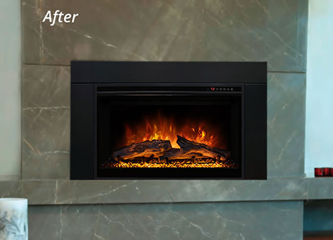 Modern Flames ZCR fireplace insert designed to be inserted into an existing wood burning fireplaces