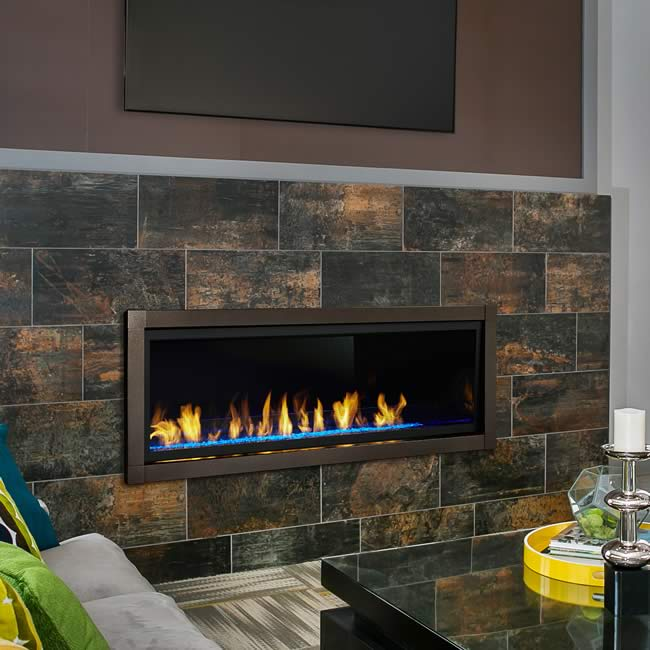 The modern Monessen 60 Artisan linear ventless fireplace is one of the most requested fireplaces from builder and home owners.