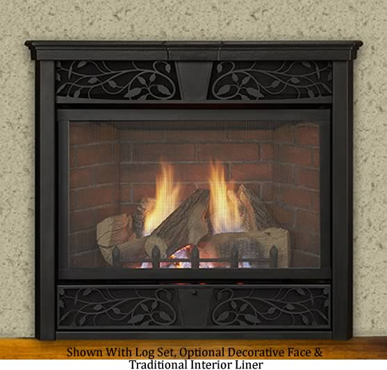 The Symphony is available as a traditional fireplace that includes gas logs or as a contemporary style fireplace that includes decorative glass media.