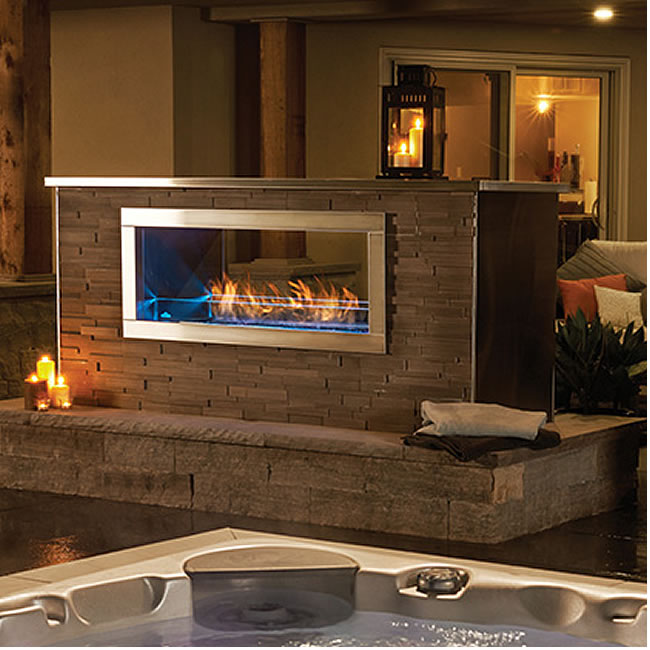 Our Napoleon Galaxy Outdoor Linear Gas Fireplace Comes In Two Different Styles; See-Thru And Single Sided.