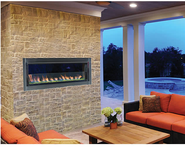 This Superior Outdoor Linear Gas Fireplace Offer A Sleek Modern Look With Dancing Flames And Accent Lighting With No Vent Required.