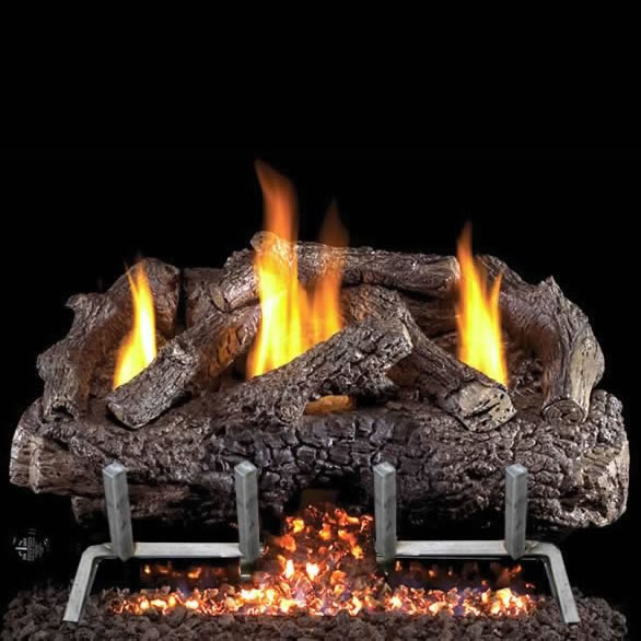30 Inch Vent Free Charred Frontier Oak Outdoor Log Set