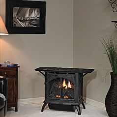 Browse contemporary and old-fashioned free standing fireplaces and gas stoves in a variety of colors at Fine's Gas.