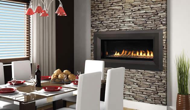 43 Inch Vent-Free Luminary Linear Gas Fireplace by Superior with optional face trim kits and media color options