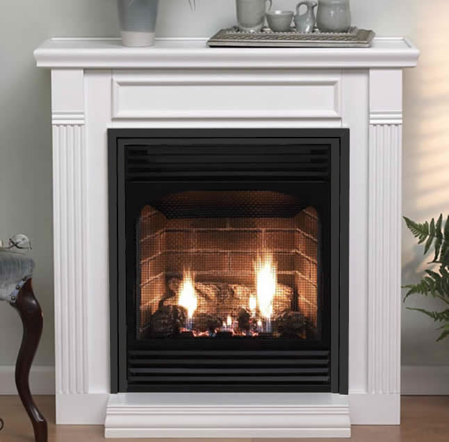Empire Vail 24 Vent-free gas fireplace system with mantel by White Mountain Hearth.
