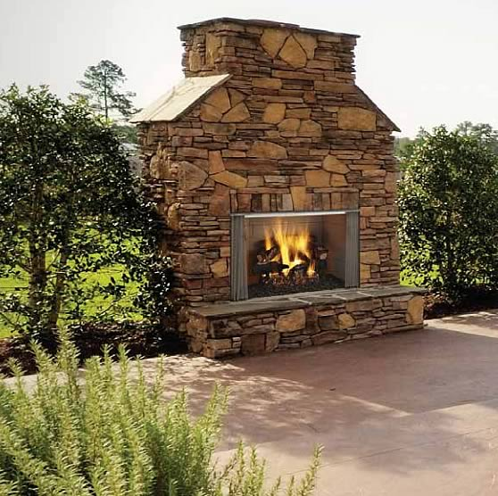 The 42 Villawood outdoor wood burning fireplace is a great way to bring your backyard alive. Features a 42 wide x 20-7/8 high viewing area and can be used to burn wood or gas