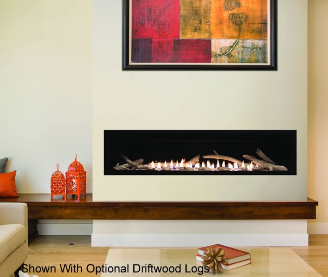 The large 60-Inch Boulevard vent-free fireplace comes with a contemporary burner system and a programmable LED lighting system