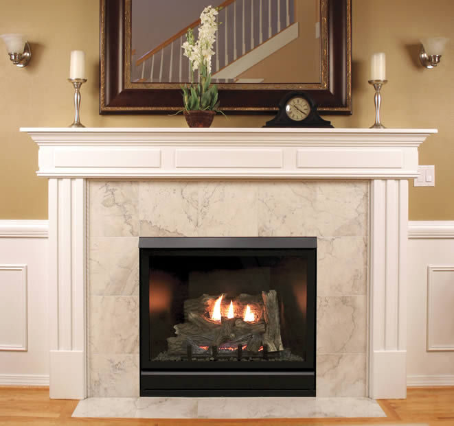 36 White Mountain Hearth direct vent Tahoe deluxe clean face gas fireplace with optional blower kit and interior brick choices.