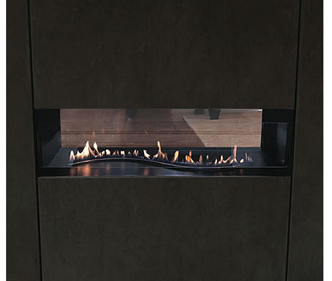 Boulevard Curved Burner See-Through Vent Free Linear Fireplace ...