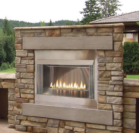 42 Inch Contemporary Outdoor Gas Fireplace With Electronic Ignition