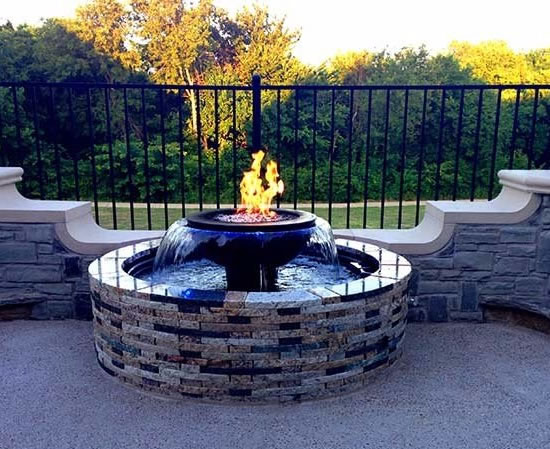 Evolution 360 Gas Fire Pit Water Feature