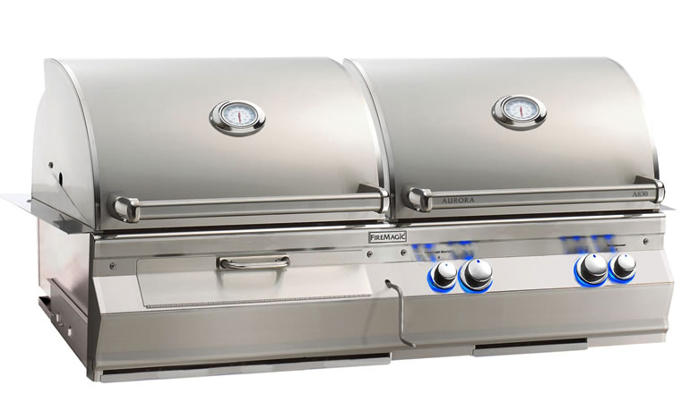 Fire Magic Aurora Dual Fuel Grill Gas Charcoal With Rotisserie Fine S