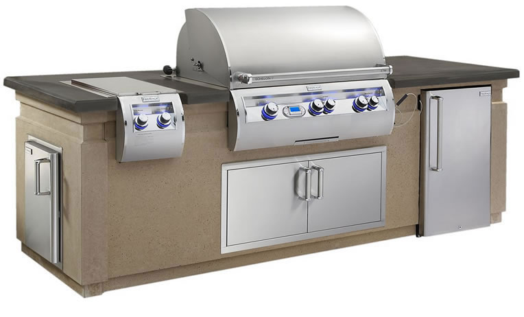 Fire Magic Echelon Outdoor Kitchen Island Package With Refrigerator