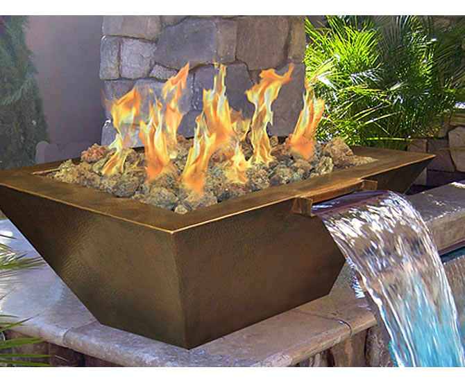Outdoor Gas Fire Pit With Built In Water Feature Fine S Gas