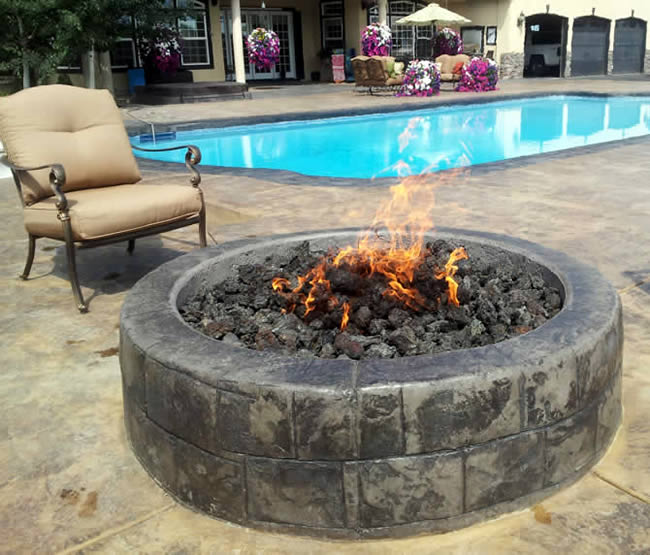 36 Inch Round Gas Fire Pit With Electronic Ignition 250 000 Btu