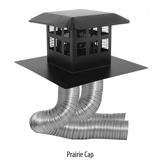 Direct Vent Insert Venting Kit With Square Prairie Cap
