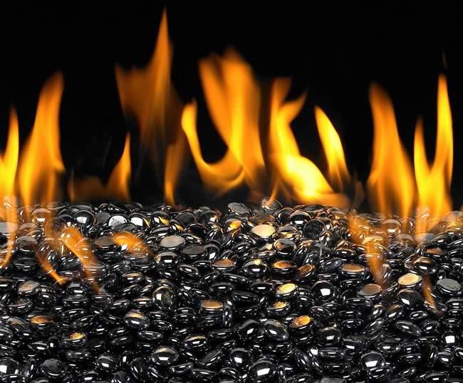 Decorative Fire Pit Glass In Black Pearl Color Gem Fine