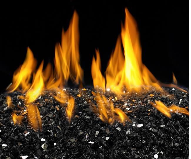 Decorative Fire Pit Glass Black Reflective Fine S Gas