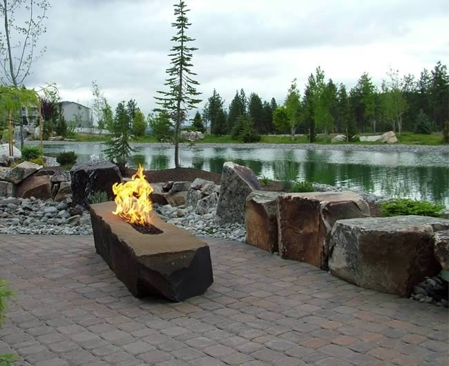 Trough Style Linear Gas Fire Pit 96 Inch