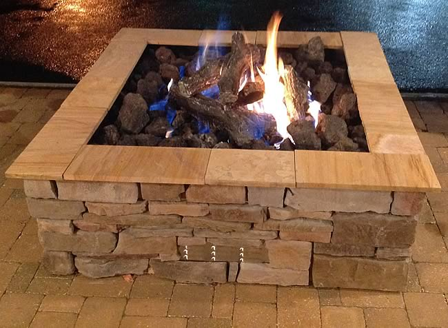 36 Inch Square Outdoor Gas Fire Pit Insert With Electronic