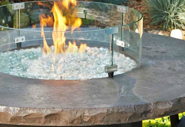 Round Glass Fire Pit Wind Guards Fine S Gas